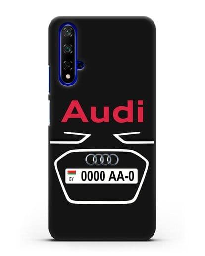 Чехол Ауди с номерным знаком силикон черный для Huawei Nova 5T