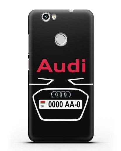 Чехол Ауди с номерным знаком силикон черный для Huawei Nova
