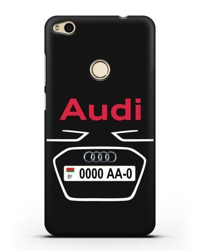Чехол Ауди с номерным знаком силикон черный для Huawei P8 Lite 2017