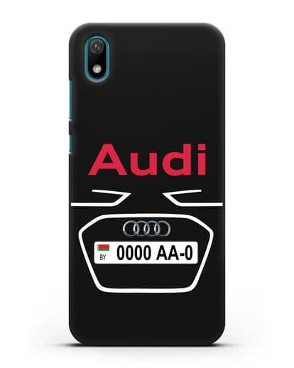 Чехол Ауди с номерным знаком силикон черный для Huawei Y5 2019