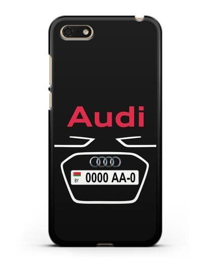 Чехол Ауди с номерным знаком силикон черный для Huawei Y5 Prime 2018