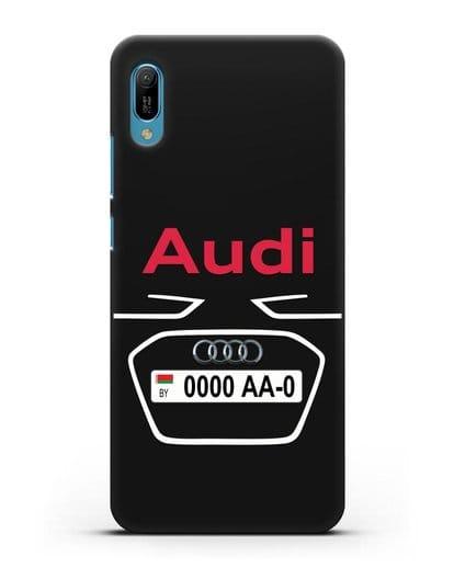 Чехол Ауди с номерным знаком силикон черный для Huawei Y6 2019