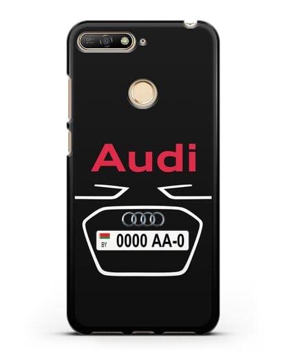 Чехол Ауди с номерным знаком силикон черный для Huawei Y6 Prime 2018