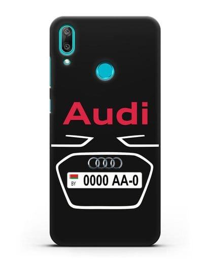 Чехол Ауди с номерным знаком силикон черный для Huawei Y7 2019