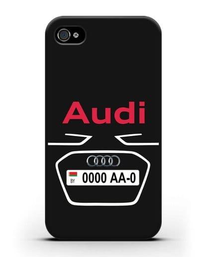 Чехол Ауди с номерным знаком силикон черный для iPhone 4/4s