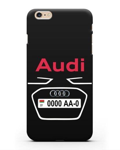 Чехол Ауди с номерным знаком силикон черный для iPhone 6s Plus