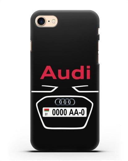 Чехол Ауди с номерным знаком силикон черный для iPhone 7
