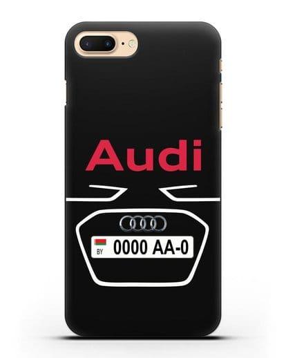 Чехол Ауди с номерным знаком силикон черный для iPhone 7 Plus