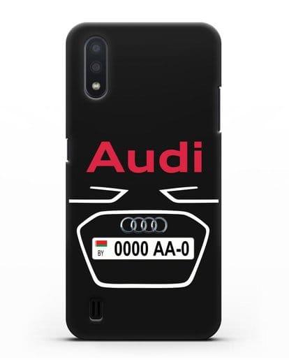 Чехол Ауди с номерным знаком силикон черный для Samsung Galaxy A01 [SM-A015F]