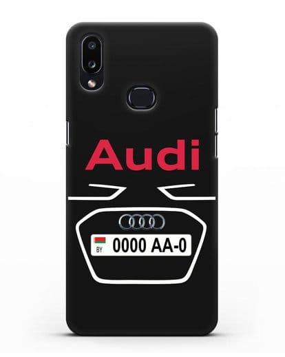 Чехол Ауди с номерным знаком силикон черный для Samsung Galaxy A10s [SM-F107F]