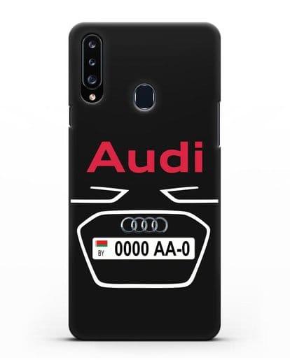 Чехол Ауди с номерным знаком силикон черный для Samsung Galaxy A20s [SM-A207FN]