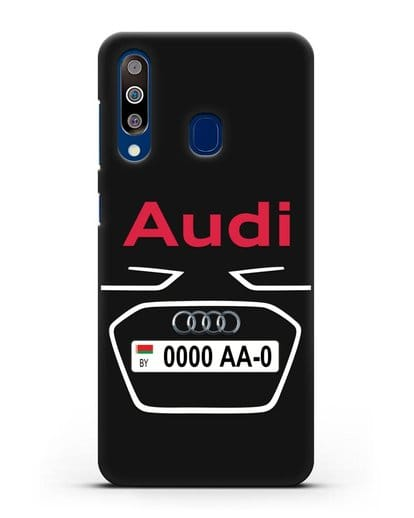 Чехол Ауди с номерным знаком силикон черный для Samsung Galaxy A60 [SM-A606F]