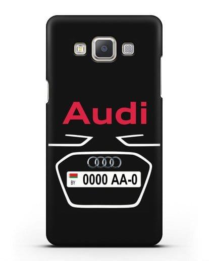 Чехол Ауди с номерным знаком силикон черный для Samsung Galaxy A7 2015 [SM-A700F]