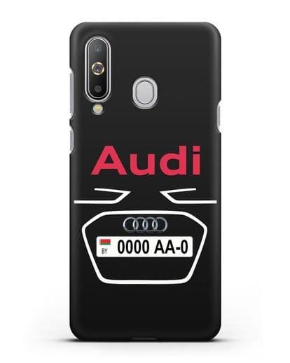 Чехол Ауди с номерным знаком силикон черный для Samsung Galaxy A8s [SM-G8870]