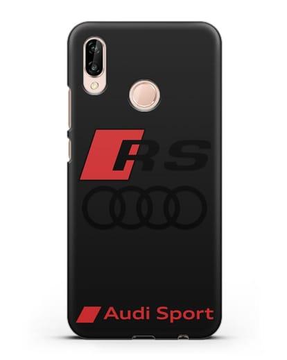 Чехол с логотипом Audi RS Sport силикон черный для Huawei P20 Lite