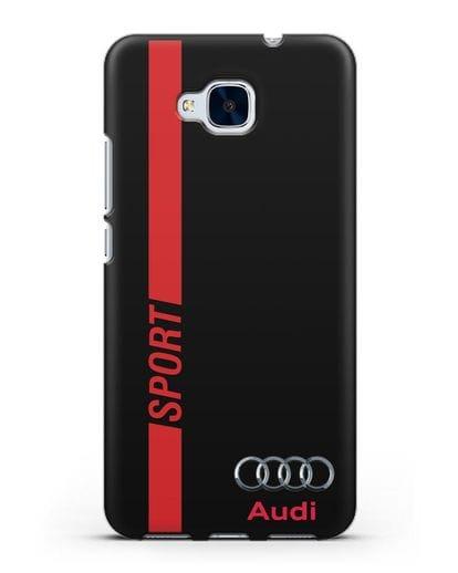 Чехол с надписью Audi Sport силикон черный для Honor 5C