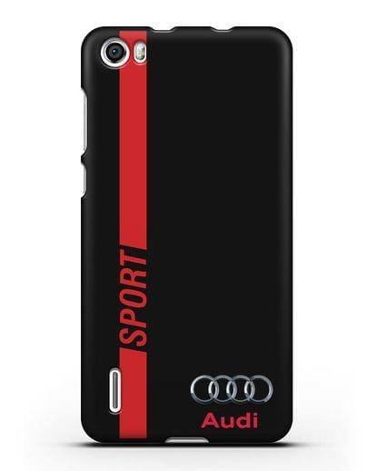 Чехол с надписью Audi Sport силикон черный для Honor 6
