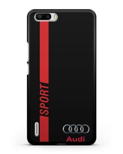 Чехол с надписью Audi Sport силикон черный для Honor 6 Plus