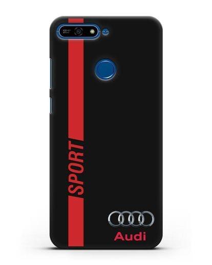 Чехол с надписью Audi Sport силикон черный для Honor 7А Pro