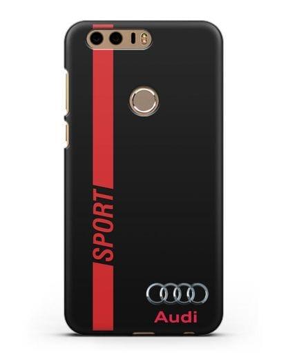Чехол с надписью Audi Sport силикон черный для Honor 8