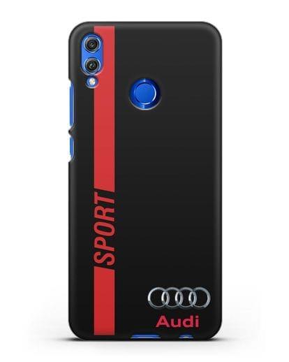 Чехол с надписью Audi Sport силикон черный для Honor 8X