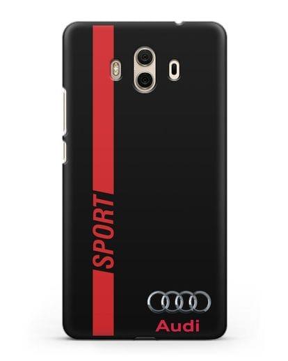 Чехол с надписью Audi Sport силикон черный для Huawei Mate 10