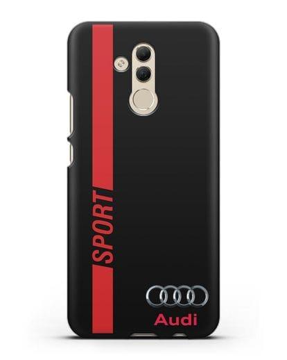 Чехол с надписью Audi Sport силикон черный для Huawei Mate 20 Lite