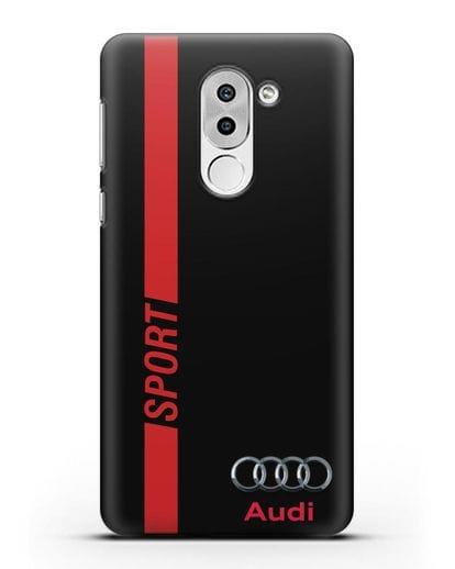 Чехол с надписью Audi Sport силикон черный для Huawei Mate 9 Lite