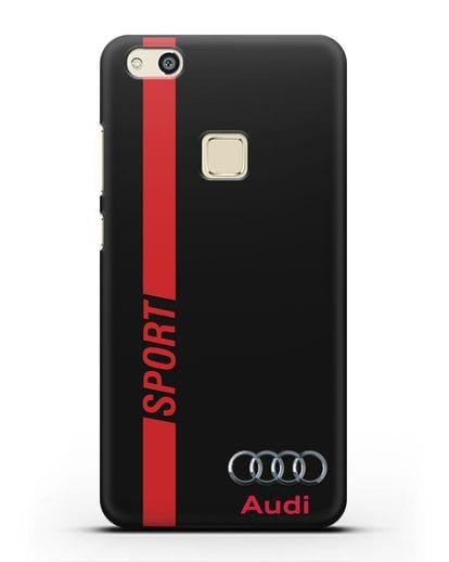 Чехол с надписью Audi Sport силикон черный для Huawei P10 Lite