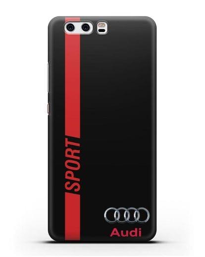Чехол с надписью Audi Sport силикон черный для Huawei P10 Plus