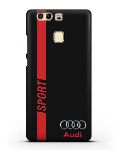 Чехол с надписью Audi Sport силикон черный для Huawei P9