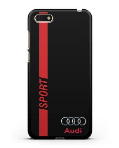 Чехол с надписью Audi Sport силикон черный для Huawei Y5 Prime 2018