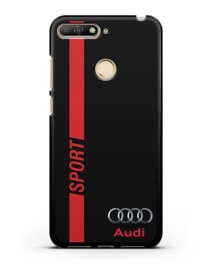 Чехол с надписью Audi Sport силикон черный для Huawei Y6 Prime 2018