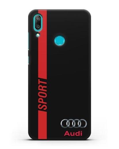 Чехол с надписью Audi Sport силикон черный для Huawei Y7 2019
