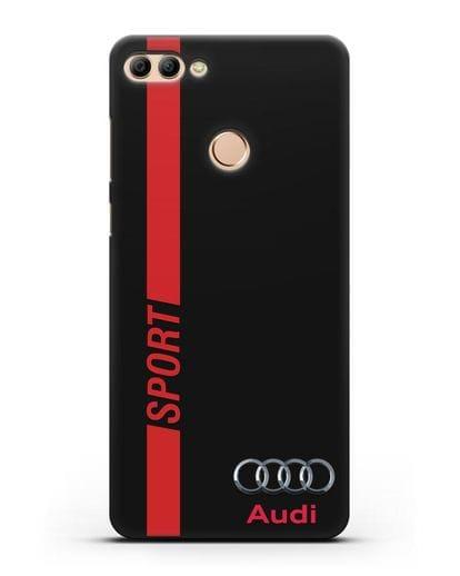 Чехол с надписью Audi Sport силикон черный для Huawei Y9 2018