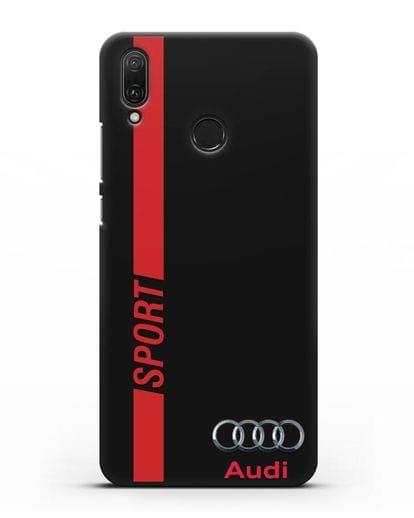 Чехол с надписью Audi Sport силикон черный для Huawei Y9 2019