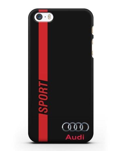 Чехол с надписью Audi Sport силикон черный для iPhone 5/5s/SE