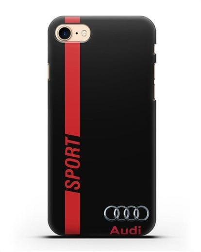Чехол с надписью Audi Sport силикон черный для iPhone 7