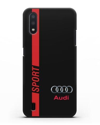 Чехол с надписью Audi Sport силикон черный для Samsung Galaxy A01 [SM-A015F]