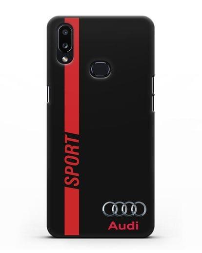 Чехол с надписью Audi Sport силикон черный для Samsung Galaxy A10s [SM-F107F]