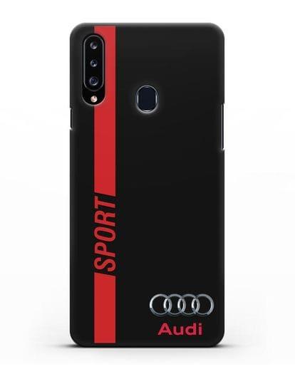 Чехол с надписью Audi Sport силикон черный для Samsung Galaxy A20s [SM-A207FN]