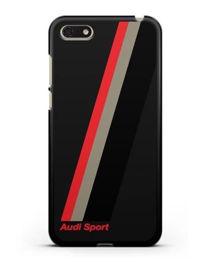 Чехол с логотипом Ауди Спорт силикон черный для Huawei Y5 Prime 2018