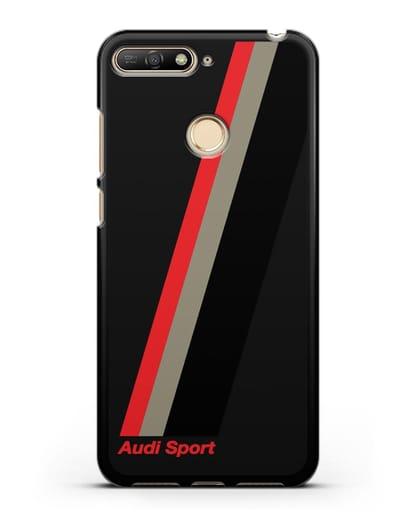 Чехол с логотипом Ауди Спорт силикон черный для Huawei Y6 Prime 2018