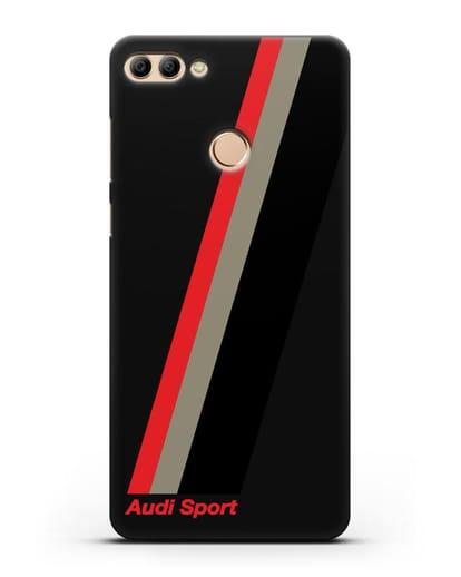 Чехол с логотипом Ауди Спорт силикон черный для Huawei Y9 2018
