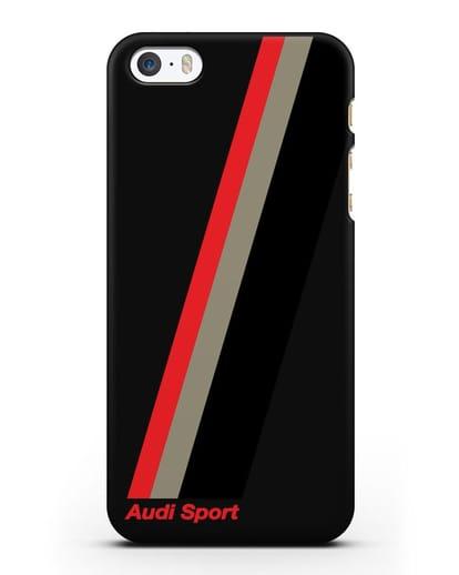 Чехол с логотипом Ауди Спорт силикон черный для iPhone 5/5s/SE