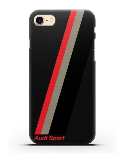 Чехол с логотипом Ауди Спорт силикон черный для iPhone 7