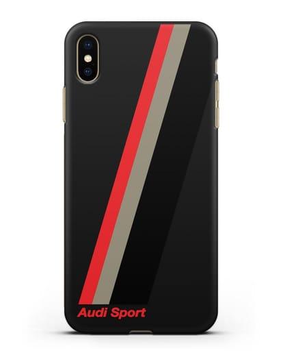 Чехол с логотипом Ауди Спорт силикон черный для iPhone XS Max