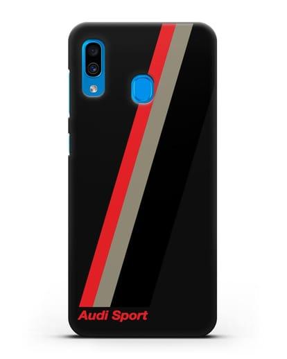 Чехол с логотипом Ауди Спорт силикон черный для Samsung Galaxy A30 [SM-A305FN]