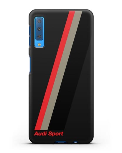 Чехол с логотипом Ауди Спорт силикон черный для Samsung Galaxy A7 2018 [SM-A750F]