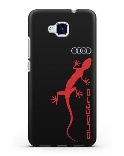 Чехол с логотипом Audi Quattro силикон черный для Honor 5C